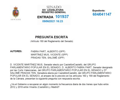 El PP exige al PSOE recuperar las frecuencias de trenes que ha suspendido entre Vinaròs y Madrid